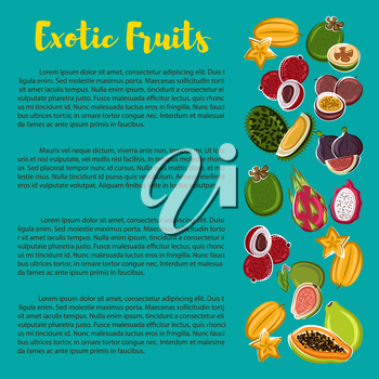 Fruit nutrition facts poster with information on exotic tropical fruits. Vector carambola, figs, grapefruit and lichee, tamarillo and durian, dragonfruit and passionfruit, papaya and feijoa, mangostee