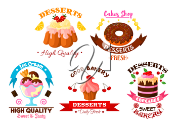 Pastry and dessert sweets vector icons set of fruit cake and cupcake with fruits, fruity ice cream, glazed vanilla tart and donut with chocolate roll pie and pudding with cream and chocolate fondant.