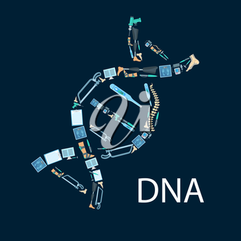 Orthopedy and orthopedics surgery poster in shape of DNA symbol. Orthopedic items and medical tools of human spine, foot and leg limb prosthesis, surgeon drill, hammer and bone saw, thermometer and sc