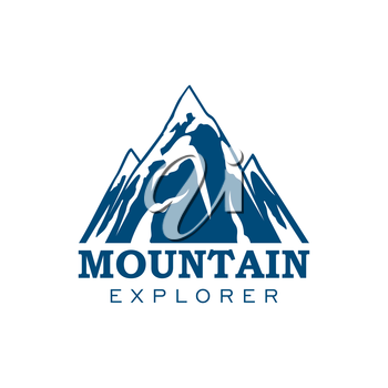 Alpine mountain or rock icon. Vector emblem of blue Alp snow peaks. Isolated badge for alpine climbing extreme sport adventure, mountaineering explorer trip, winter nature trip or tourist camping expe