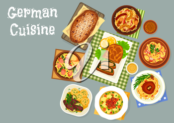 German cuisine dinner icon of cabbage and sauerkraut dishes with sausage and pork hock, potato salad with bacon, salmon pie, sweet bread with dried fruit and spices, liver baked with apple