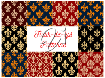 Flowery royal fleur-de-lis patterns set of vector seamless floral ornament and french lily heraldic flower tracery. Luxury ornamental baroque motif backdrop and embellishment tiles design for interior