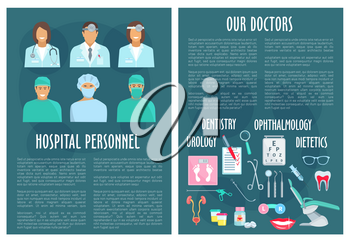 Doctors and medical personnel or hospital staff posters. Dentistry, urology, ophthalmology and dietetics healthcare. Vector medicines eye vision test, urogenital system or tooth implant or syringe and