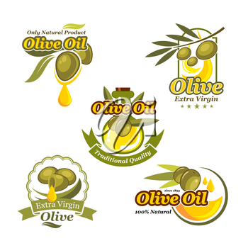 Olive oil vector isolated icons set for bottle and product label templates. Green olives and extra virgin natural organic oil drop for farm store or market, cooking and cosmetic or pharmaceutical indu