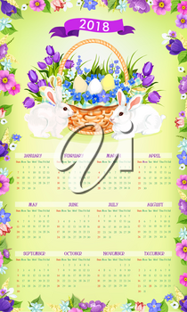 2018 calendar template with Easter spring holiday of paschal eggs and bunny in flowers bouquet bunch in basket. Vector floral design with Happy Easter greeting ribbon for church religion celebration