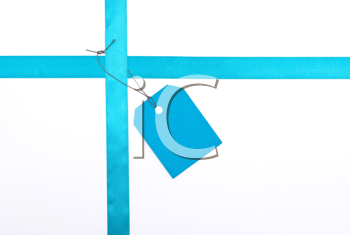 Royalty Free Photo of Blue Ribbon With a Tag