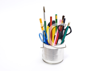 Royalty Free Photo of a Tin Containing Stationary