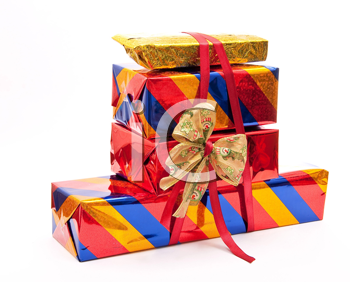Stack of gift boxes with bow