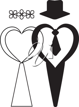 Suits for weddings, design for invitation card. Wedding banner. Bride and groom. Wedding salon