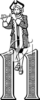 Royalty Free Clipart Image of One of the 11 Pipers Piping