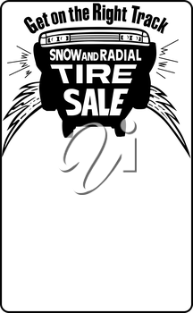 Royalty Free Clipart Image of a Tire Sale Ad Starter