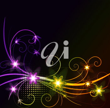 Royalty Free Clipart Image of a Black Background With Colourful Flourishes
