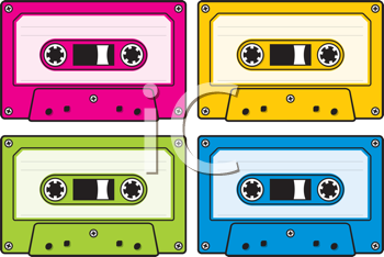 Royalty Free Clipart Image of Four Audio Cassettes