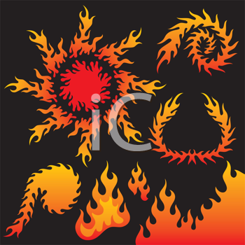Royalty Free Clipart Image of a Collection of Flames