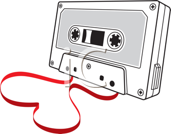 Royalty Free Clipart Image of an Audio Cassette With the Tape Forming a Heart