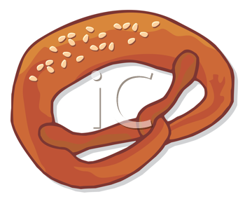 Royalty Free Clipart Image of a Pretzel With Sesame Seeds