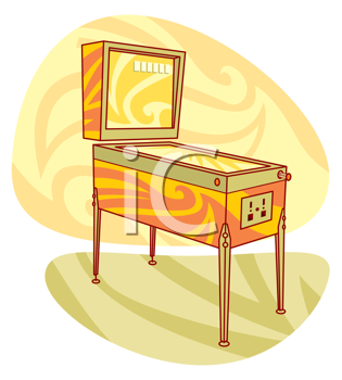 Royalty Free Clipart Image of a Pinball Machine