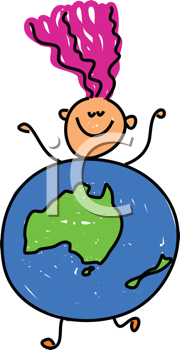 Royalty Free Clipart Image of a Girl in a Globe