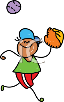 Royalty Free Clipart Image of a Boy Catching a Baseball