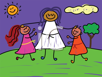 Royalty Free Clipart Image of a Person Being Blessing Children