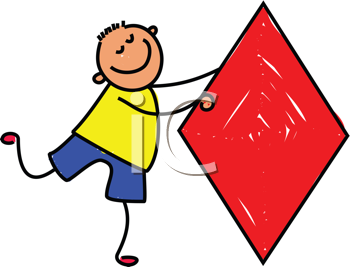 Royalty Free Clipart Image of a Boy With a Diamond