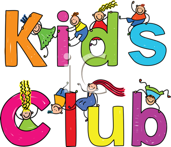 Royalty Free Clipart Image of  Children on the Words Kids Club