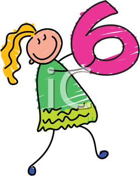 Royalty Free Clipart Image of a Girl With the Number 6