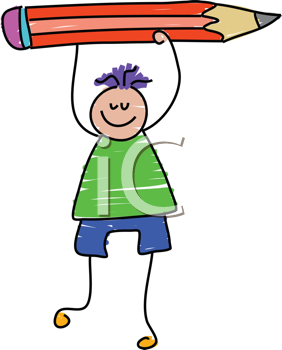 Royalty Free Clipart Image of a Boy With a Pencil