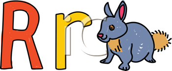 Royalty Free Clipart Image of R is for Rabbit