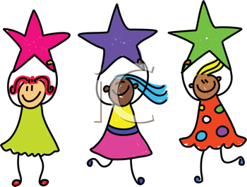 Royalty Free Clipart Image of Girls Holding Stars