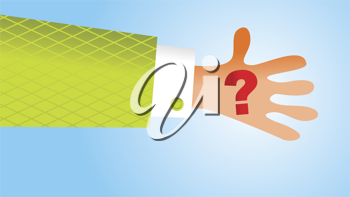 Royalty Free Clipart Image of a Hand With a Question Mark