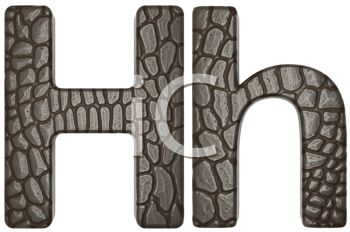 Royalty Free Clipart Image of Alligator Skin Font H Lowercase and Capital Letters