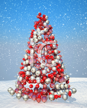 Royalty Free Clipart Image of a Tree Made of Decorations