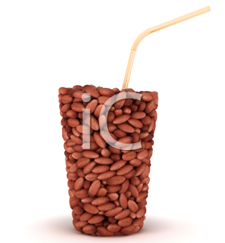 Royalty Free Clipart Image of a Glass Made of Peanuts
