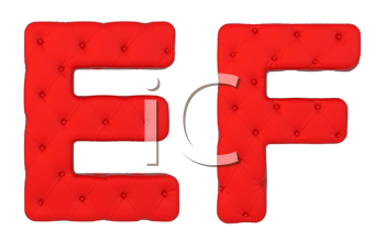 Royalty Free Clipart Image of a Red Leather Font E and F