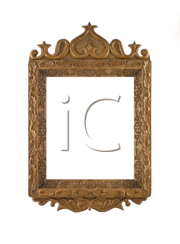 Beautiful wooden Frame for picture useful as icon case over white