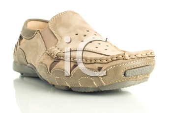 Closeup of Modern beige mens moccasin over white background