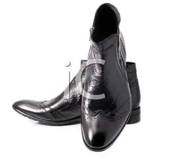 Pair of Black leather mens boots over white background. Side view