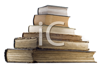 Pyramid pile of old books isolated over white background