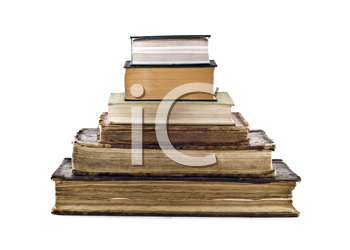 Pyramid stack of old books isolated over white
