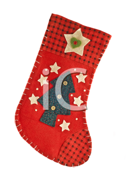 Red Christmas stocking for gifts, isolated over white