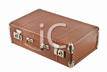 Traveling - old-fashioned case (trunk, suitcase) isolated over white