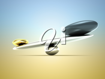 Weighty thing: scales with carbon fiber shape and gold over gradient background