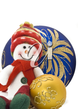 Cuddly Christmas decoration toy with colorful New Year Balls over white with focus on the back