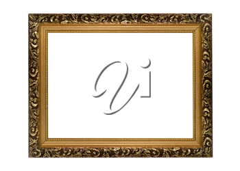 Horizontal golden Frame for picture or portrait isolated