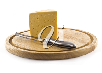 Knife and cheese on the board isolated over white