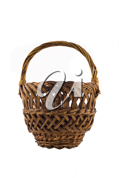 Small woven basket for food isolated over white background