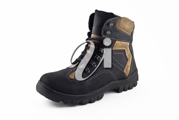 Warm leather boot for traveling in winter (isolated, over white)