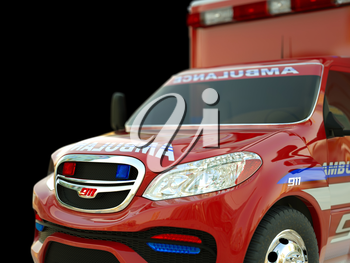 Ambulance: Closeup view of emergency services vehicle on black. Custom made and rendered