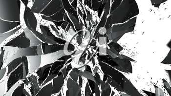 Shattered and broken glass isolated on white. Large resolution